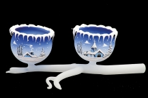 GLASS TWIG 2 BOWLS - BLUE COLOR