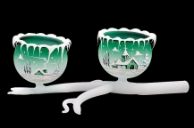 GLASS TWIG 2 BOWLS - GREEN COLOR