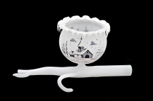 GLASS TWIG 1 BOWL - WHITE COLOR
