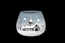 GLASS FOR CANDLE CHRISTMAS - GREY COLOR