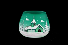 GLASS FOR CANDLE CHRISTMAS - GREEN COLOR