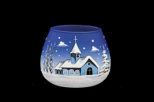 GLASS FOR CANDLE CHRISTMAS - BLUE COLOR