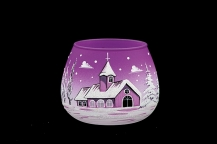 GLASS FOR CANDLE CHRISTMAS - VIOLET COLOR