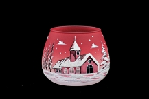 GLASS FOR CANDLE CHRISTMAS - RED COLOR