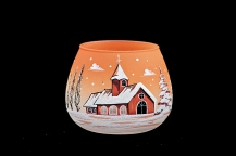 GLASS FOR CANDLE CHRISTMAS - ORANGE COLOR